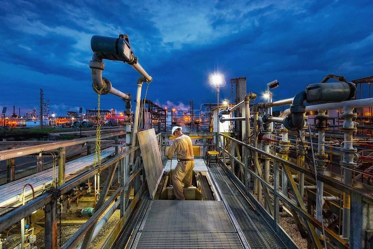 Professional chemicals industry photography at chemical plant in Louisiana