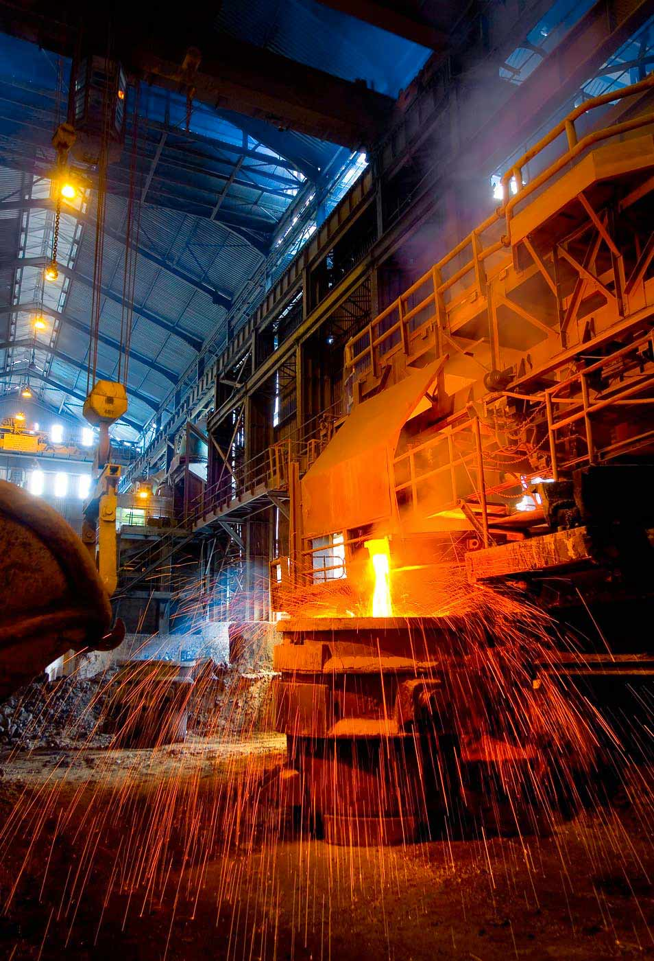 Matte tapping at smelter furnace - by Geoff Brown industrial and mining photographer